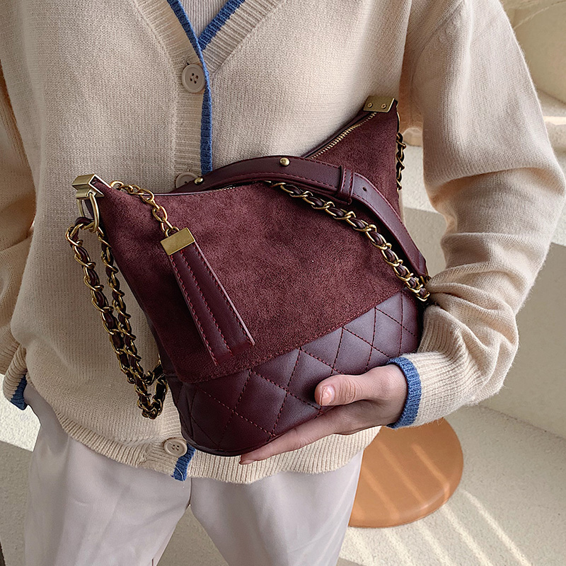 Winter Suede Scrub Leather Crossbody Bags For Women Luxury Design Bucket Shoulder Messenger Bag Female Chain Handbags And Purses
