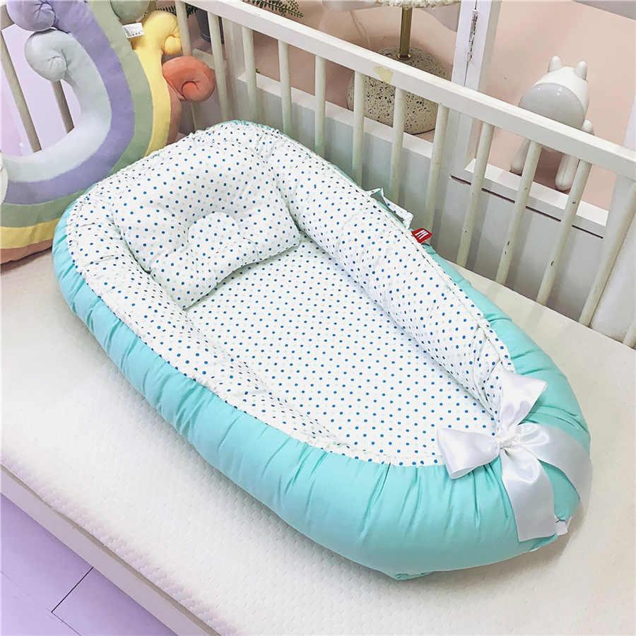 Bebê recém-nascido cama de ninho tissu coton cama de bebê portátil com travesseiro nido bebe berço berço infantil berço