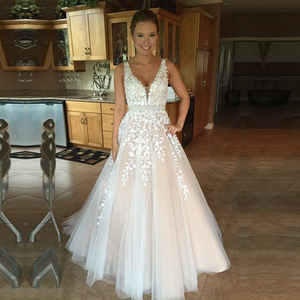 Image 1 - Long V Neck Lace Applique Wedding Dresses 2020 with Tulle Train for Bride vestido de noiva A Line Custom Made