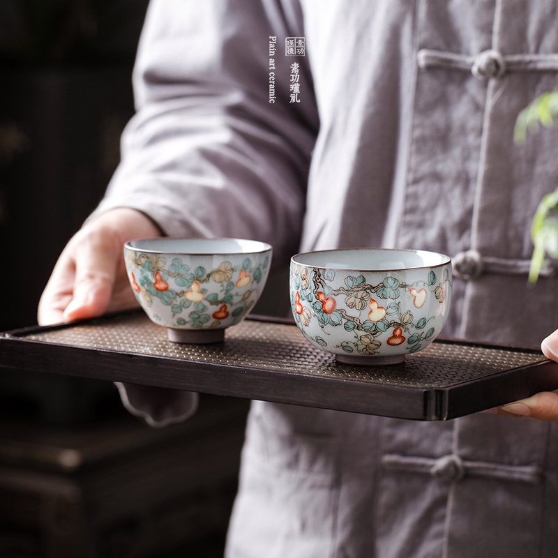 Chinese Hand-Painted Gourd Pastel Master Cup Pu'er Small Teacup Handmade Tea Tasting Cup Lang Langya Color Ru Ware Cup Gift Box