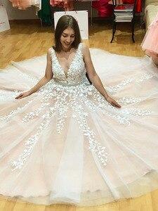 Image 4 - V neck vestidos de casamento 2020 luz champanhe até o chão applique aberto para trás uma linha sem costas vestidos de noiva