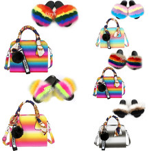 Women's Furry Slides Colorful Rainbow Shoulder Bag Shoes Ladies Fox Fur Slippers Matching Purses Plush Sandals Female Handbag