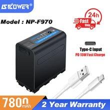 NP-F970 baterii aparatu Sony DCR DSR kamera GVM LED Lights panele monitory wideo wymiana NP-F550 F Seires 7800mAh