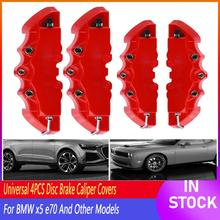 4PCS 3D Red Car Universal Disc Brake Caliper Covers Front & Rear Accessories Set Auto Replacement Parts Brake Rear Wheel