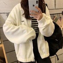 Zip-up Hoodie Women Loose Plus Velvet sweatshirt Pockets Letter Casual Oversized Harajuku Streetwear Womens tops clothes Trendy