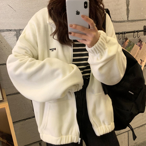 Zip-up Hoodie Women Loose Plus Velvet sweatshirt Pockets Letter Casual Oversized Harajuku Streetwear Womens tops clothes Trendy