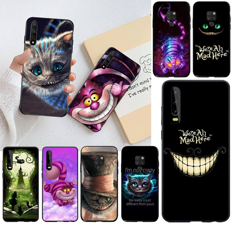 HPCHCJHM Alice in Wonderland Cheshire Cat Phone Case <font><b>Capa</b></font> for <font><b>Huawei</b></font> P30 <font><b>P20</b></font> <font><b>lite</b></font> <font><b>Mate</b></font> 20 Pro <font><b>lite</b></font> P Smart 2019 prime image