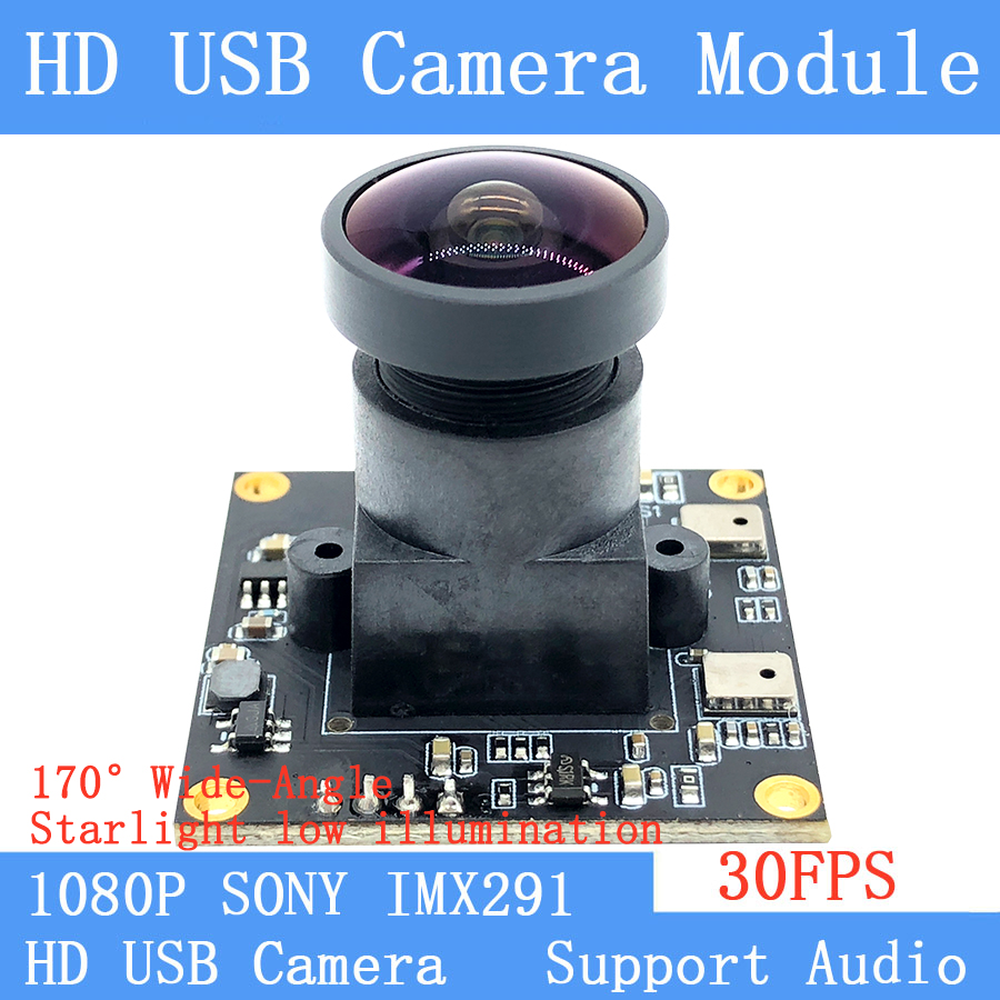 1080P Webcam SONY IMX291 Star Level Surveillance Wide Angle 30FPS Linux UVC 2MP USB Camera Module for Microphone Windows