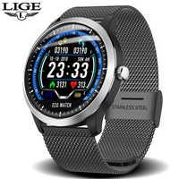 LIGE ECG PPG reloj inteligente monitor de ritmo cardíaco presión arterial smartwatch ecg Pantalla de sueño Fitness rastreador Smartwatch Android IOS