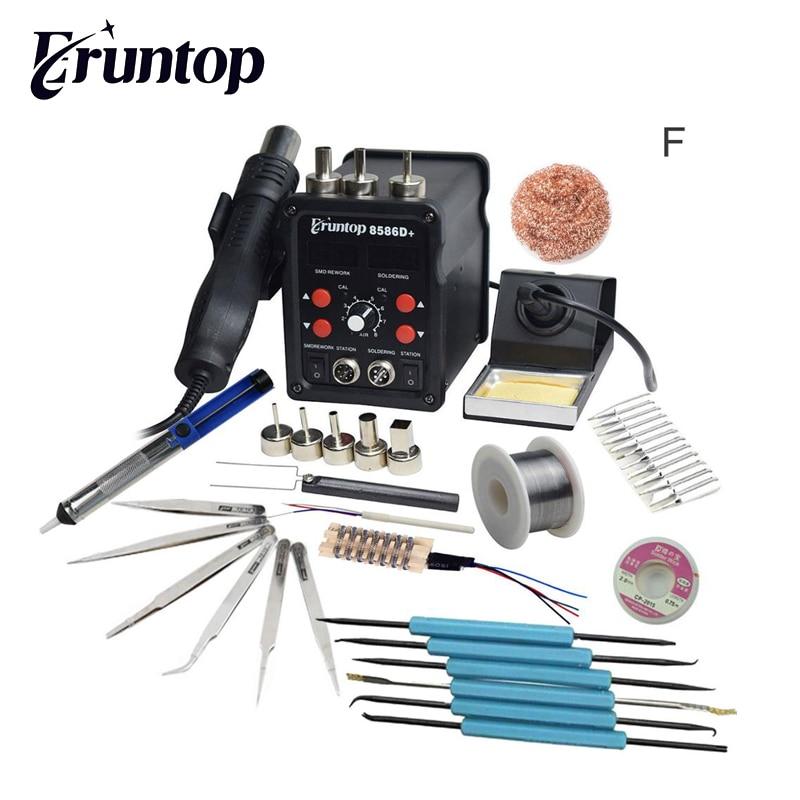 Black Eruntop 8586D+ Double Digital Display  Electric Soldering Irons +Hot Air Gun Better SMD Rework Station Upgraded 8586