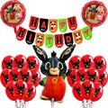1 Набор в виде анимационной рыжей комбинезон с черным кроликом латексных воздушных шаров с животных Pet торт фигурки жениха и невесты; Баннер ...