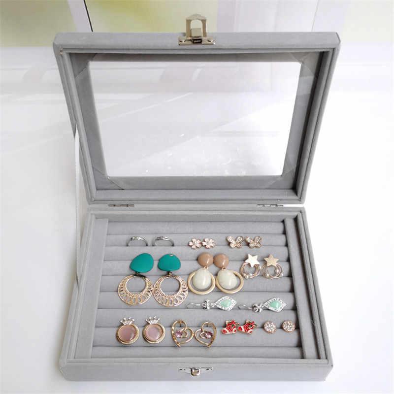 Eleganter Schmuck Aufbewahrungsbox Schmuck Display Tray Samt Ring Organize