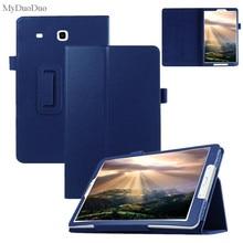 Чехол для планшета Samsung Galaxy Tab E 9,6 дюйма, флип чехол T560 с зернистой текстурой, чехол из искусственной кожи с защитным чехлом + пленка + стилус
