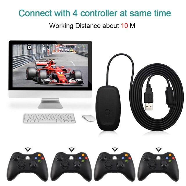 Cho Xbox360 Đen Mới USB MÁY TÍNH Chơi Game Thu Cho Microsoft Xbox 360 Bộ Điều Khiển Không Dây Miễn Phí Vận Chuyển