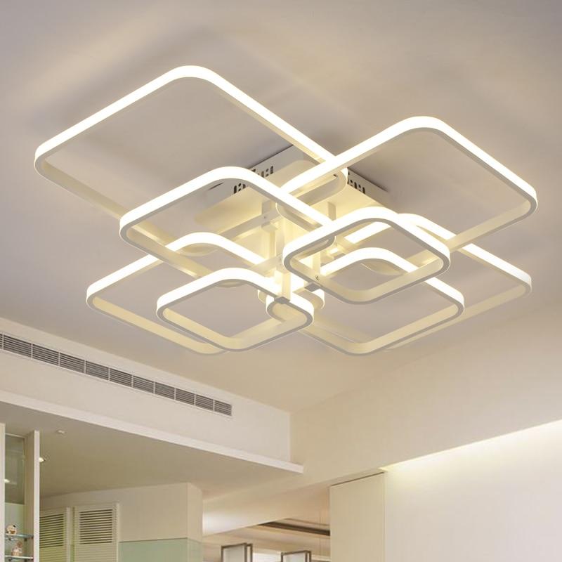 Современные светодиодные люстры для гостиной, столовой, кухни, спальни с дистанционным управлением, домашние прямоугольные потолочные све...