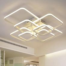 Moderno led lustres para sala de estar jantar cozinha quarto com controle remoto casa retângulo lâmpada do teto luminárias