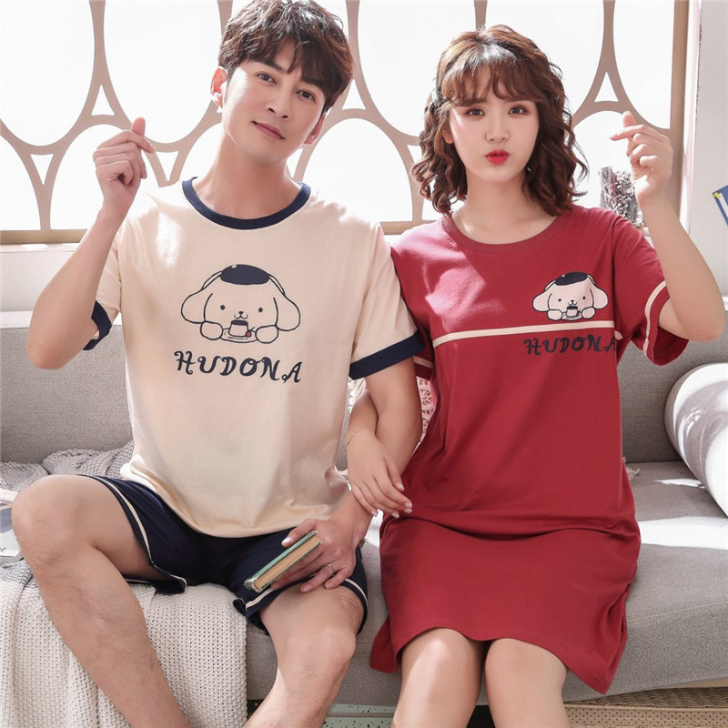 Summer M-4XL New Lovers Pajamas Set Nightwear Female Cotton Short Sleeve Household Clothing For Mens Plus Size Pijamas Mujer