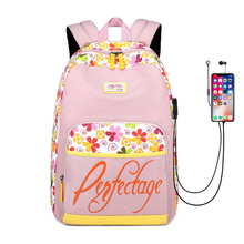 цена на 2019 Fashion USB Charging Canvas Women Backpack School Bag For Girls Flower Printing Female Rucksack College Laptop Bagpack