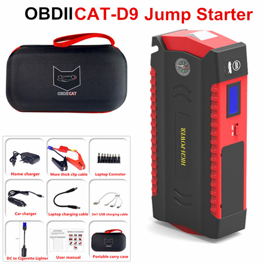 OBDIICAT-D9 Super Power Car Jump Starter Power Bank 600A Portable Battery Booster Charger 12V Starting Device Petrol Diesel