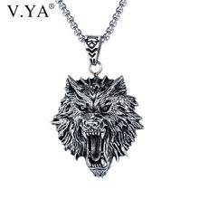 Ожерелье vya из титановой стали мужское ожерелье с головой волка