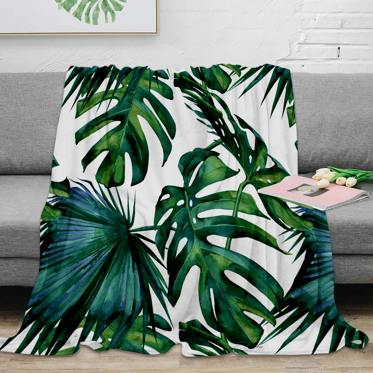 Classic Palm Leaves Tropical Jungle Green Throw Blanket Warm Flannel Blanket Flannel Blanket Blankets For Beds