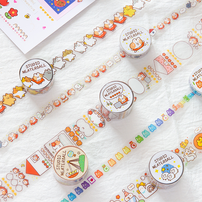 1 Roll 2m Cute Clear PET Sheep Cat Strawberry Masking Tape Album Scrapbooking Decor Kids Gift Decorative Tape Stationery