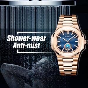 Image 3 - PLADEN benzersiz izle erkekler lüks altın erkek saatler Top marka lüks paslanmaz çelik erkek moda mavi quartz saat hediyeler erkekler için