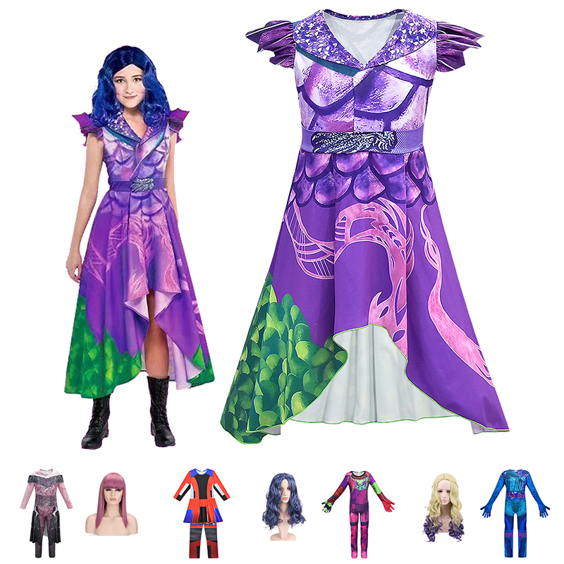 Girls Descendants 3 Mal Dress Up Costume 3d Printed Cosplay Clothes Villain Evie Jumpsuit Kids Hallooween Disguise Dress And Wig