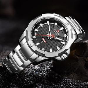 Image 3 - Часы наручные NAVIFORCE Мужские кварцевые, люксовые брендовые аналоговые водонепроницаемые из нержавеющей стали, с датой