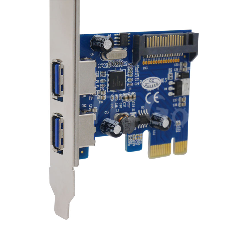 2 Port SuperSpeed <font><b>USB</b></font> <font><b>3.0</b></font> PCI-E <font><b>PCIE</b></font> PCI Express sata power supplyAdapter usb3.0 Converter Card nec 720200 chipset Low Profile image