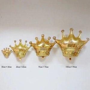 Image 5 - 1 adet büyük elmas taç folyo helyum balonları altın siyah pembe mavi Globos bebek duş prenses kız doğum günü partisi dekor malzemeleri