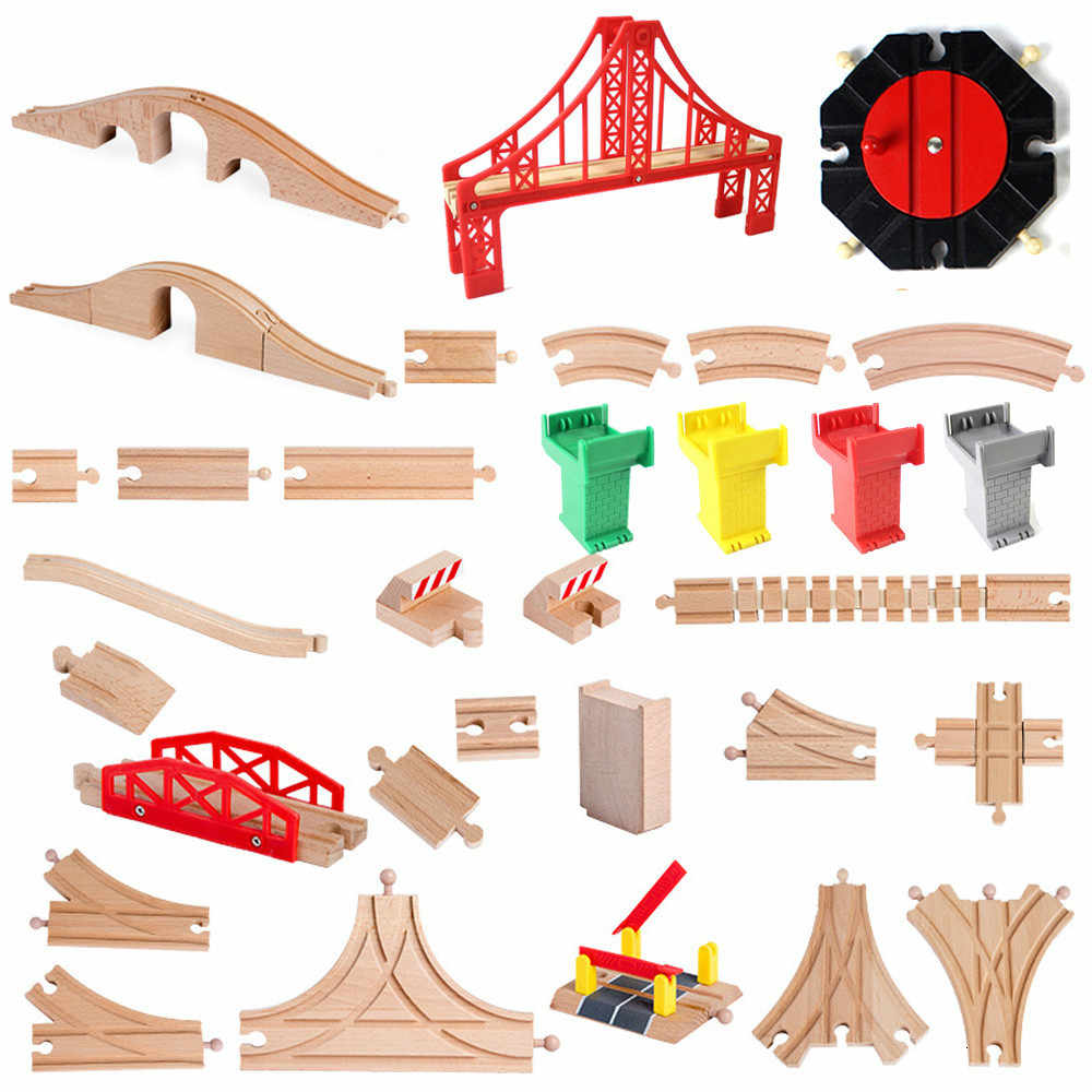 DIY Wooden Racing Tracks Accessories Beech Wood Railway Tracks Set Bridge Piers Parts Compatible With Thom All Brands