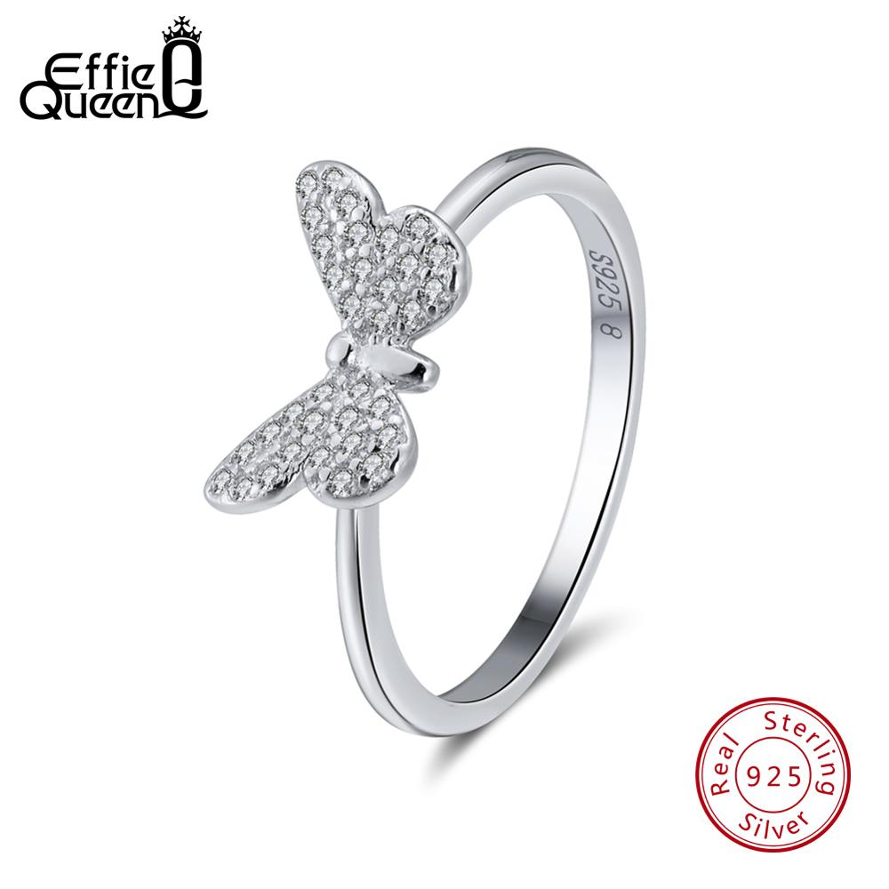 925-Sterling-Silver Rings Jewelry Zircon Wedding-Ring Effie Queen Butterfly-Shape Real