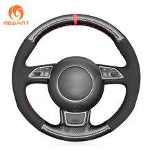 MEWANT Black Suede PU Carbon Fiber Steering Wheel Cover for Audi A1 8X A3 8V Sportback A4 B8 Avant A5 8T A6 C7 A7 G8 A8 D4