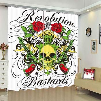 Custom 3D Blackout Curtains Creative Skull Printing Blackout 3D Curtains for Living Room Bedding Room Hotel Fashion Home Room