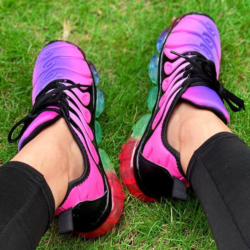 Chaussures pour femmes baskets mode arc-en-ciel couleur plate-forme chaussures chaussures de marche décontractées confortable en plein air dames chaussures vulcanisées