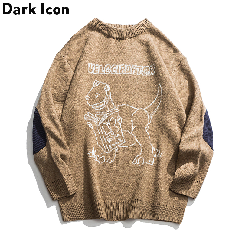 Dark Icon Dinosaur Sweater Men Round Neck Pullover Sweaters Fashion Oversized Men's Sweater Streetwear Clothing
