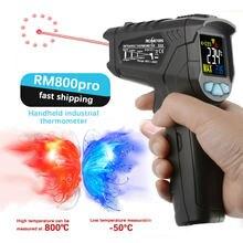 Termómetro Digital infrarrojo sin contacto, pirómetro de infrarrojos, higrómetro, medidor de temperatura láser, pistola de mano LCD Industrial 880C