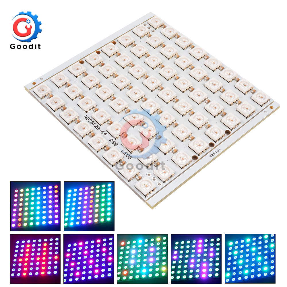64Bit LED Matrix WS2812 LED 5050 RGB 8x8 Bit For Arduino WS2812B 8*8 64-Bit Full Color LED Lamp Panel Light LED Lights Module