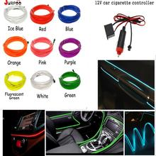 10Colour 2M Car EL Wire Neon Light Flexible EL Wire lamps Rope Tube LED Strip With 12V car cigarette controller JURPOO