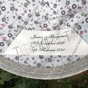 Image 3 - Tùy chỉnh Từng Cá Nhân, Xám nhạt nặng lanh kippah, kippot, kipot với Burgundy thêu tiệc cưới