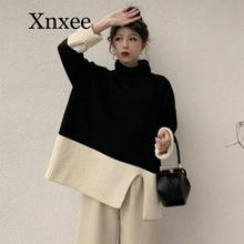 Sweater Women Turtleneck Long Sleeve Pullover Casual Vintage Contrast Color Knitted Tops Jumpers Korean New Fashion korean autumn new feminine knitted sweater fashion lace up sweater woman tops long sleeve shein pullover knitted tops 10i