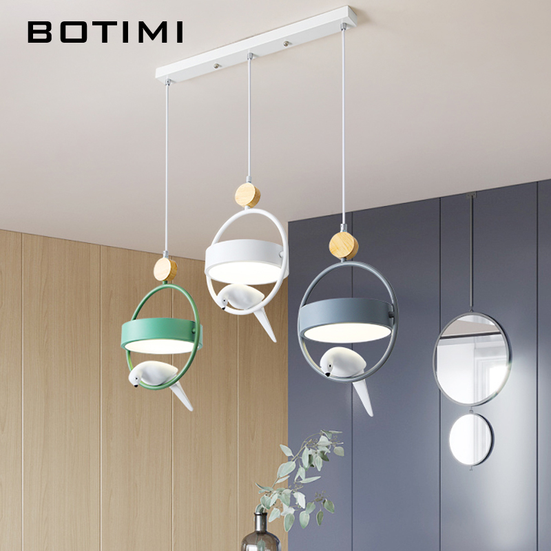 BOTIMI Birds DECO With Rings Triple LED Pendant Lights For Dining Room Modern Indoor Kitchen Adjustable Bar Hanglamp