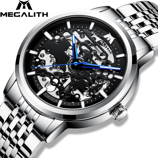 MEGALITH Mannen Horloge Automatische Mechanische Horloge Sport Waterdichte Lichtgevende Casual Business Mechanische Horloge Relogio Masculino
