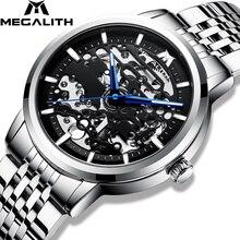 MEGALITH reloj mecánico automático para hombre, deportivo, impermeable, luminoso, informal, de negocios, Masculino