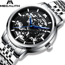 MEGALITH גברים שעון אוטומטי מכאני שעון ספורט עמיד למים זוהר מזדמן עסקים מכאני שעוני יד Relogio Masculino