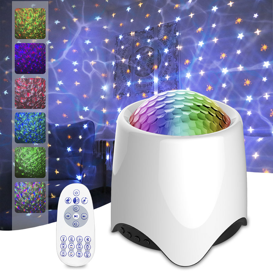 Star Projector Night Light Ocean Waves Projector Lamp with Remote Control BT White Noise Alpha Brainwave Music For Bedroom Party