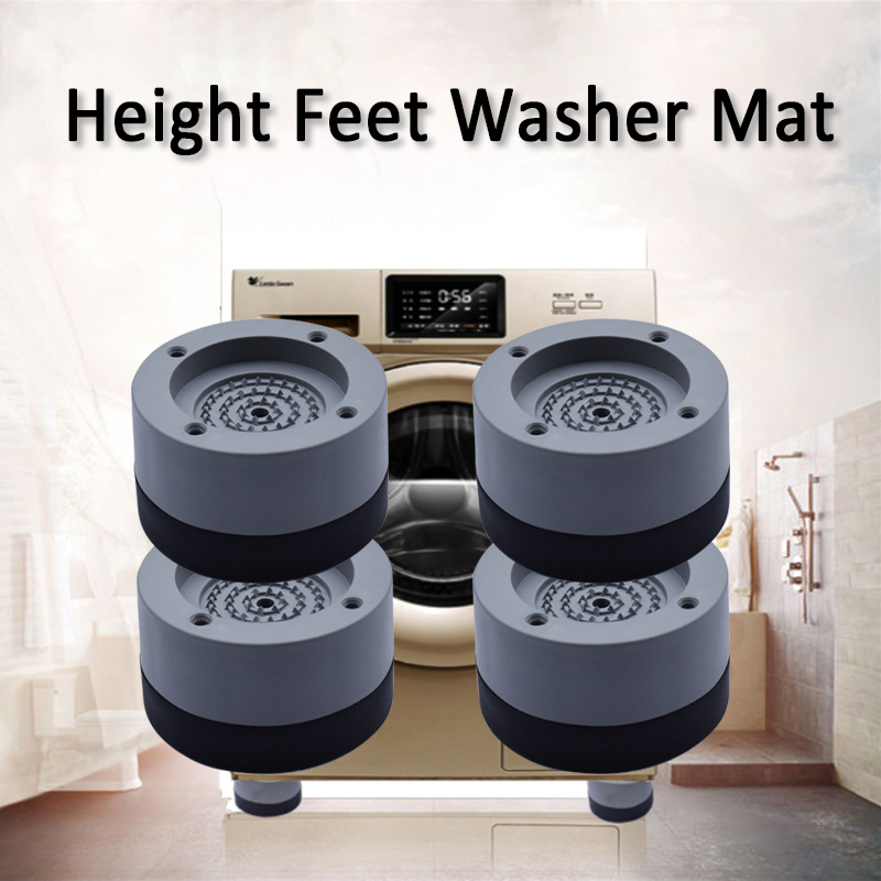 4Pcs Washing Machine Anti-Vibration Feet Heavy Duty Washer Dryer Pad Furniture Non Slip Raise Height Feet Floor Protectors Mat