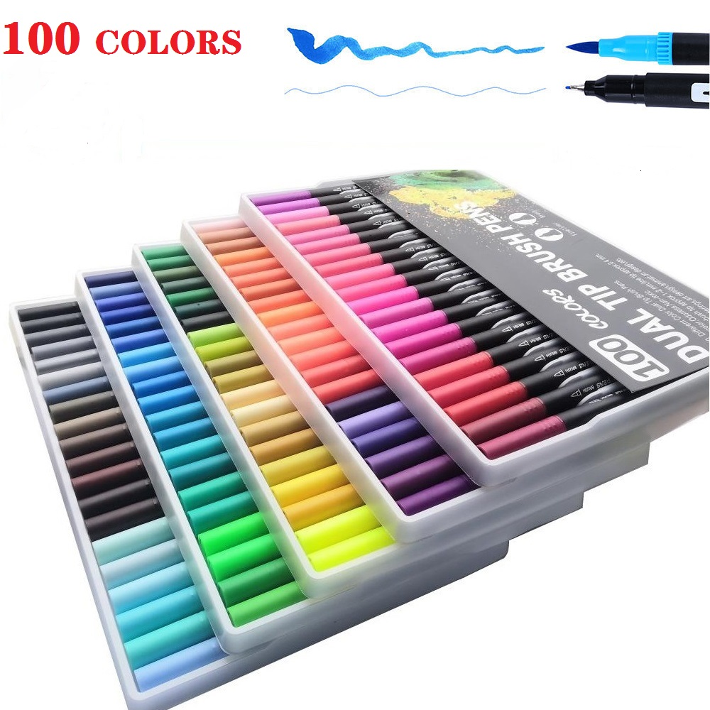 100 Colors Art Markers Fine Liner Dual Tip And Watercolor Brush Pen School Art Supplies For Drawing Painting Manga And Design