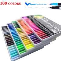 12/24/36/48/72/100/120 Colors Double Line Markers Brush Pen School Art Supplies For Drawing Painting Manga And Design